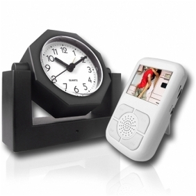 Covert Wireless Spy Camera Alarm Clock with Receiver w/LCD