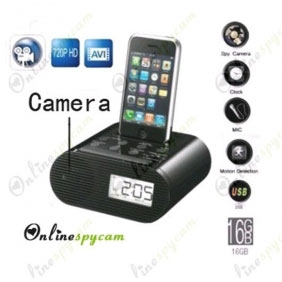 Alarm Clock Hidden HD Spy Camera DVR 16GB Motion Activated Remote Control ON/OFF