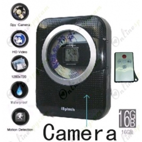 Spy CD/Radio Hidden Waterproof Bathroom Spy Camera 16GB 720P HD DVR (Motion Detection)