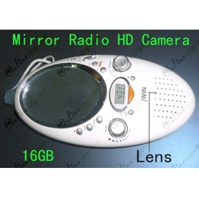 Bathroom Spy Radio With Mirror Hidden HD Bathroom Spy Camera Motion Detection DVR 16GB