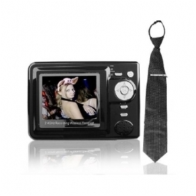Wireless Spy Tie Camera with Wireless MP4 Player Receiver Hidden Camera