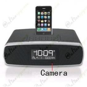 Bedroom Spy Camera DVR 1280X720 16GB Home Alarm Clock Radio Phone Charging Dock HD(Motion Activated)